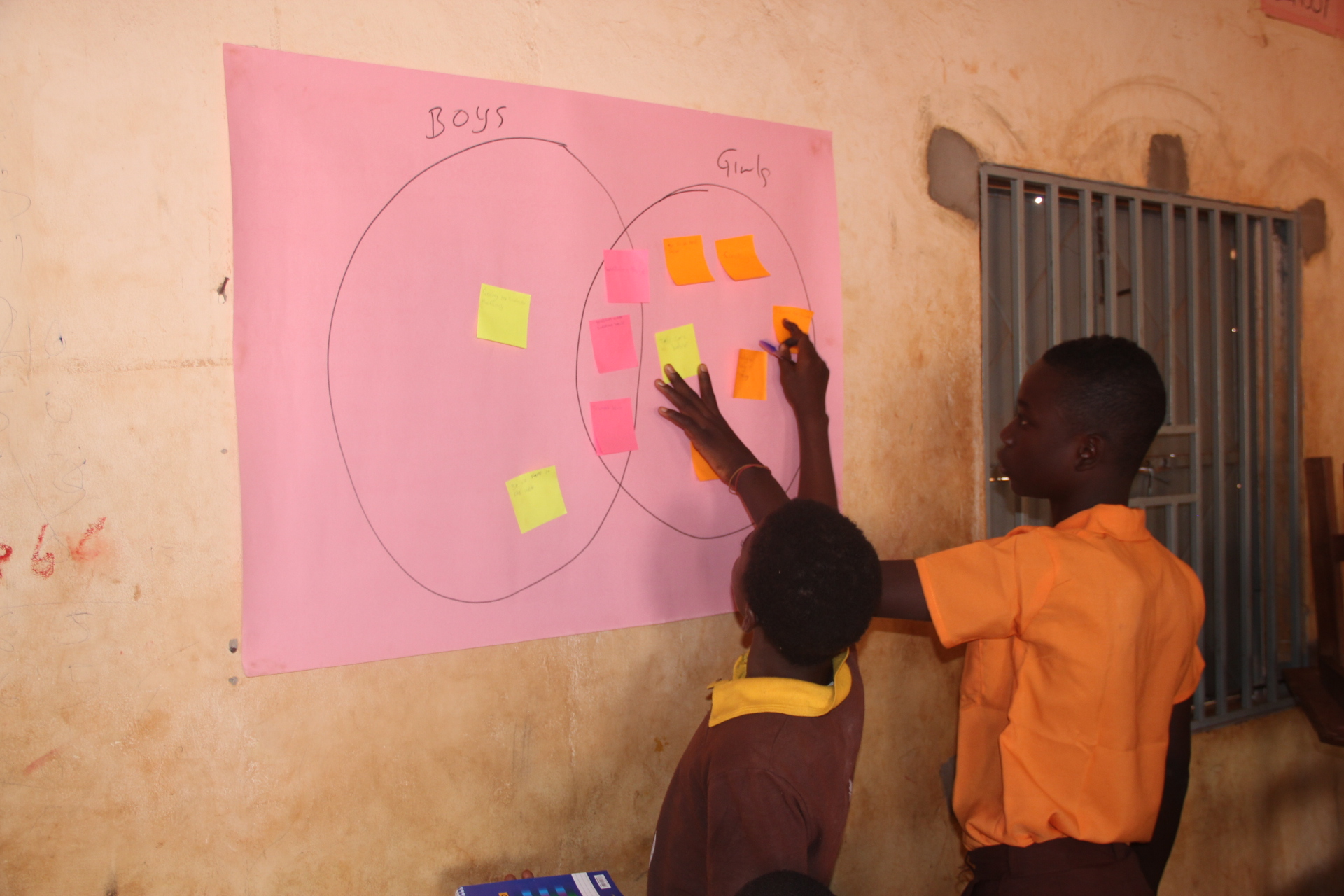 Two boys place sticky notes on a Venn diagram showing girls' and boys' work